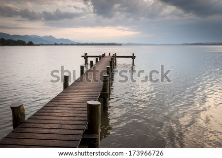 sunset lake - stock photo