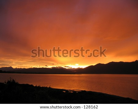 Sunset, Lake Te Anau, New Zealand - stock photo