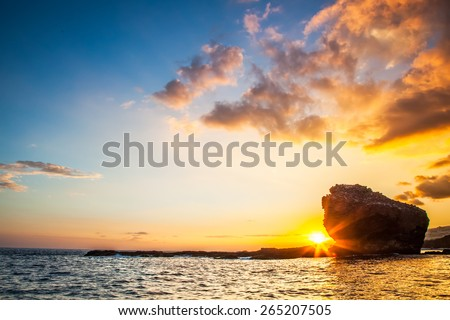 Sunset.  Lanai, Hawaii. Sweetheart rock.  Puu Pehe.