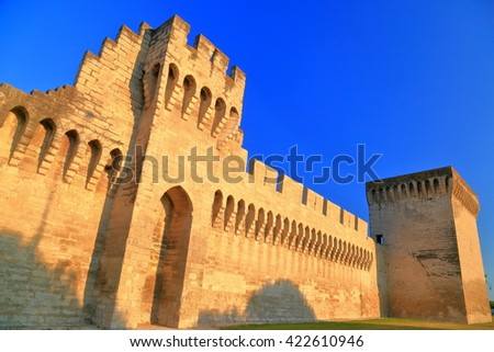 Sunset light illuminates medieval walls of Avignon, Provence, France - stock photo