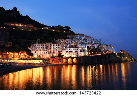 Sunset light in Amalfi, Italy, Europe - stock photo