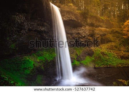 Sunset Light on South Falls, Silver Falls State Park, Oregon
