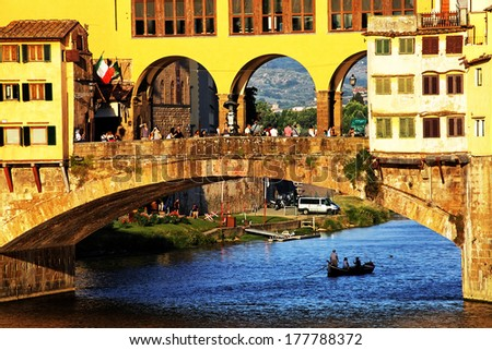 Sunset light over Ponte Vecchio, Arno River, Florence, Italy,Europe - stock photo