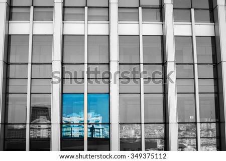 Sunset lights of the business city buildings  - stock photo