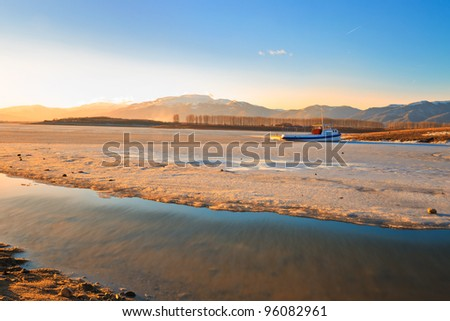 sunset lights on the rose valley - stock photo