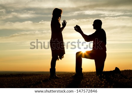 Sunset Marriage Proposal - stock photo
