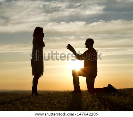 Sunset Marriage Proposal - stock photo