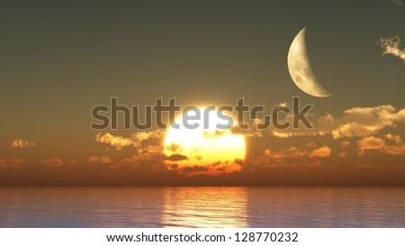 Sunset moon - stock photo
