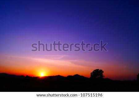 sunset mountain in thailand - stock photo