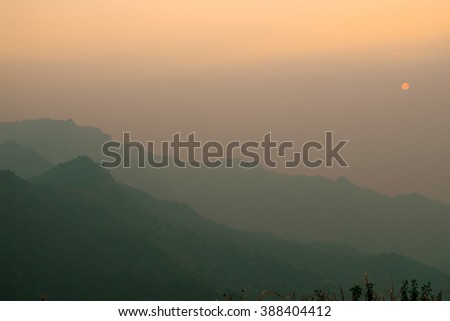 Sunset mountain landscape - stock photo