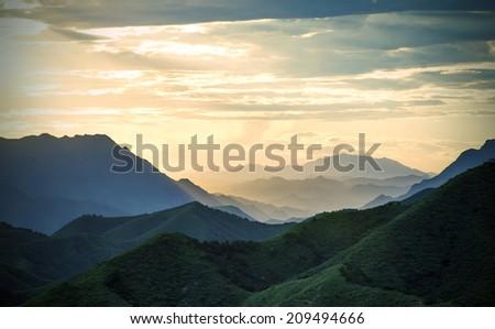 Sunset mountain scenery  - stock photo