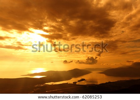 Sunset near  airport in Montenegro - stock photo
