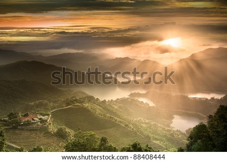 Sunset of Tanyao Ln., Sec. 5, Beiyi Rd., New Taipei City, Taiwan (R.O.C.) - stock photo