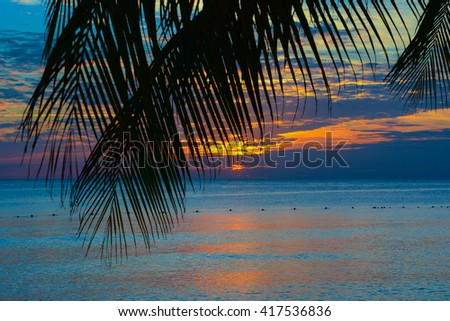 sunset of the caribbean with palms and white sand beach on the tropical island Bayahibe Dominican Republic - stock photo
