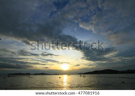 Sunset on a lake for background