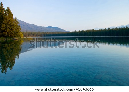 Sunset on a small lake, Jasper National Park, Canada