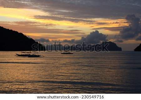 Sunset on a tropical island. El Nido. Philippines. - stock photo