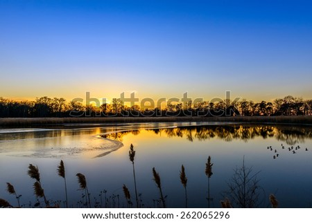 Sunset on an icy Maryland pond near the Chesapeake Bay in Winter - stock photo