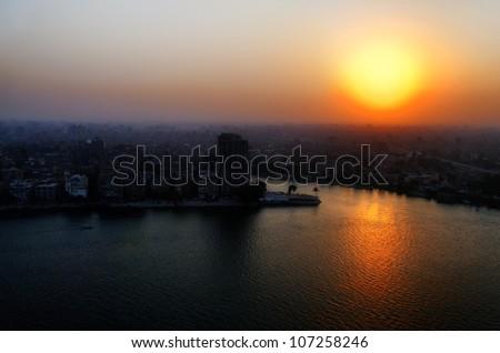 Sunset on Cairo - stock photo