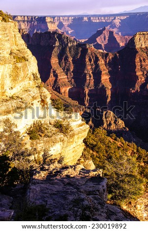 Sunset on Deva Temple and Brahma Temple, North Rim, Grand Canyon National Park, Arizona