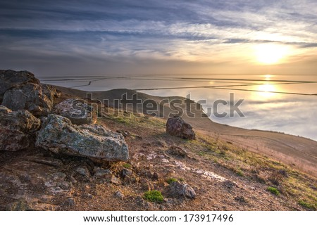 Sunset on Fremont lake in California, USA - stock photo
