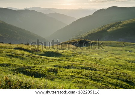 "sunset on highland of ""Biogradska Gora"" National Park, Montenegro - stock photo"