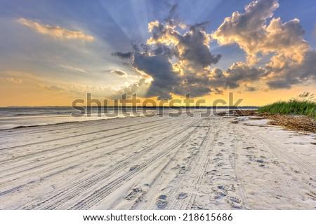 Sunset on Hilton head Island - stock photo