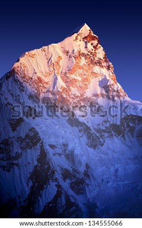 Sunset on Himalayan mountain Lhotse, next to Mount Everest, in Nepal. - stock photo