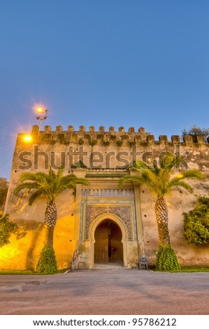 Sunset on Imperial City door at Meknes, Morocco