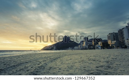 Sunset on Ipanema Beach in Rio de Janeiro, Brazil - stock photo