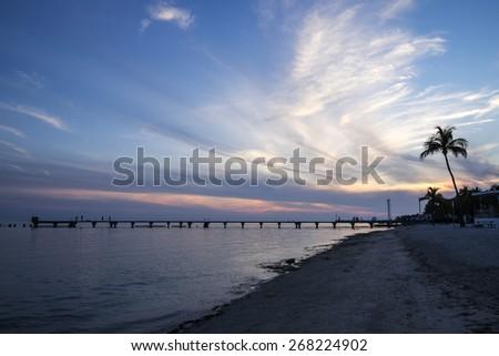 Sunset on Key West Florida - stock photo