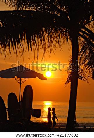 Sunset on Kuta beach, Bali, Indonesia - stock photo