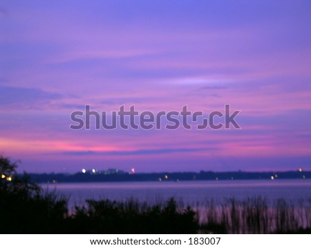Sunset on Lake Parker - stock photo