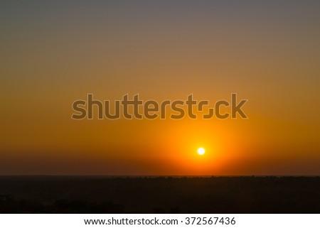 Sunset On Pa Tam National Park in the Ubon Ratchathani province , Thailand - stock photo
