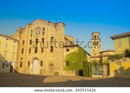 sunset on piazza San Francesco, Parma, Italy - stock photo