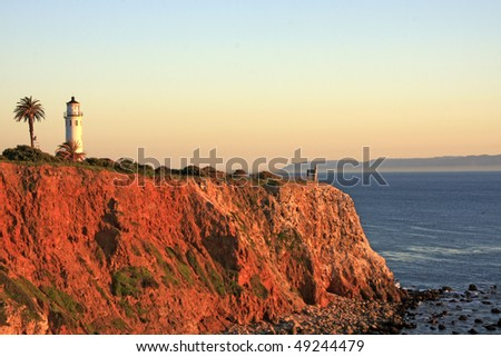 Sunset on Point Vicente lighthouse - stock photo
