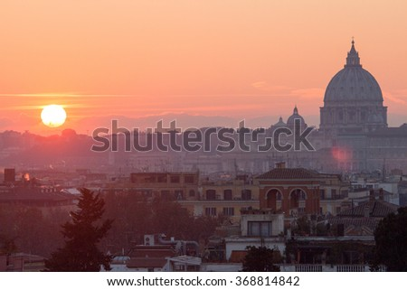 sunset on roma Basilica San Pietro Italy