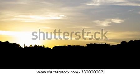 Sunset on Sardinia village - stock photo