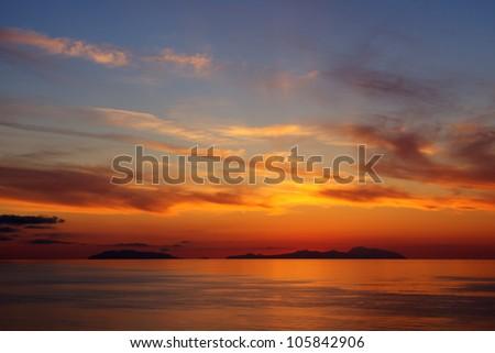 Sunset on the Aeolian islands - stock photo
