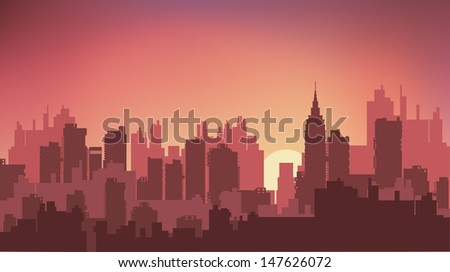 Sunset on the background of the city at night - stock photo