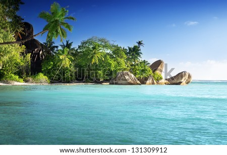 sunset on the beach, Anse Source d'Argent, La Digue island, Seychelles - stock photo