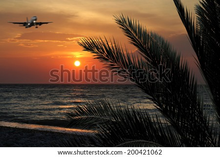 Sunset on the beach.Concept for travel agencies - stock photo