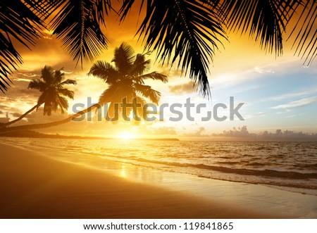 stock photo sunset on the beach of caribbean sea 119841865 - Каталог — Фотообои «Закаты, рассветы»