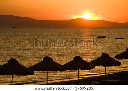Sunset on the Beach, taken in Naxos, Greece - stock photo