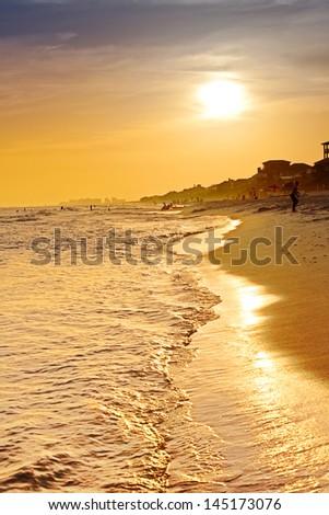Sunset on the beaches of South Walton Beach, Destin, Florida - stock photo