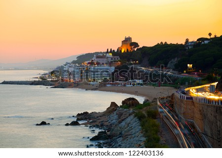 Sunset on the coast (Spain, Catalonia, Costa Brava) - stock photo