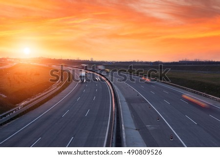 Sunset on the highway near Budapest, Hungary