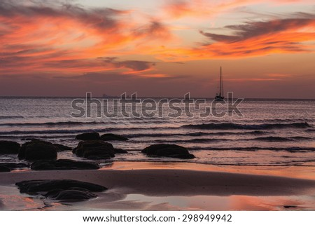 Sunset on the Kantiang beach in Ko lanta island, Thailand - stock photo