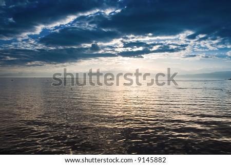 Sunset on the lake Ohrid in Macedonia - stock photo