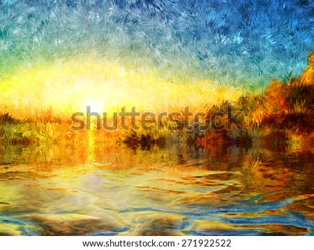 sunset on the leak, nature bright colors, romantic evening, modern art impressionism, brush painting, pastel and pencil art, mixed techniques of drawing, waves, burning sun,  - stock photo